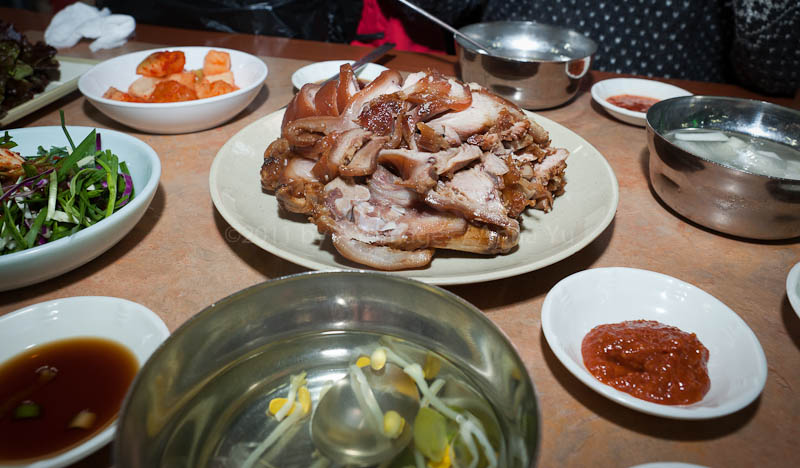 Marinated pork with side dishes