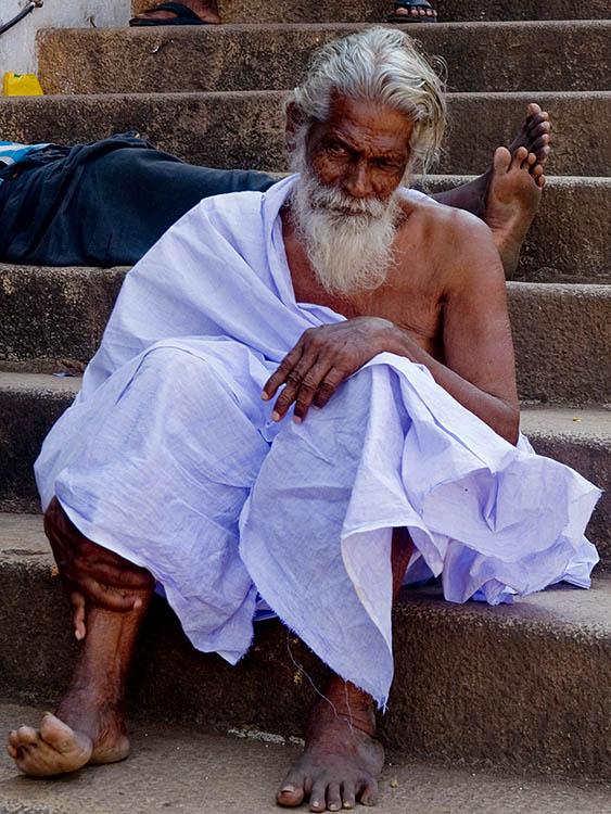 Man on Temple Steps