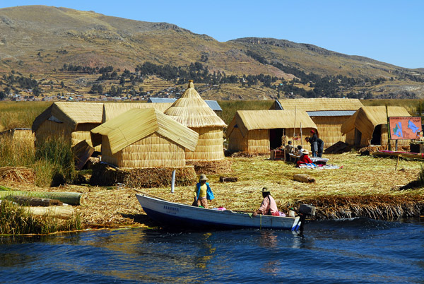 The floating islands are a big tourist attraction for Puno and Lake Titicaca