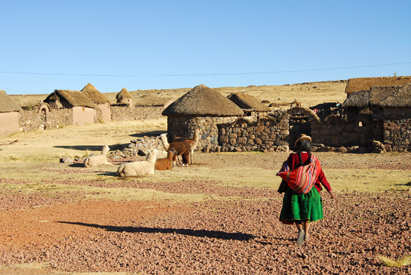 Each family lives in a walled enclosure with several huts