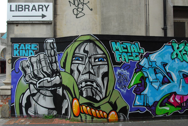 Graffiti painting of Doctor Doom, archenemy of the Fantastic Four, Brighton