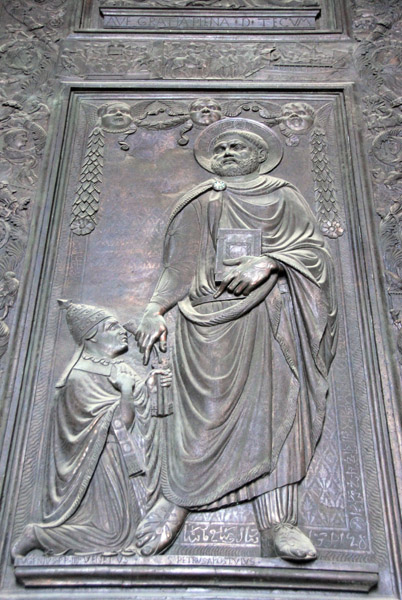 Bronze panel of St. Peter consigning the keys to Pope Eugenius IV