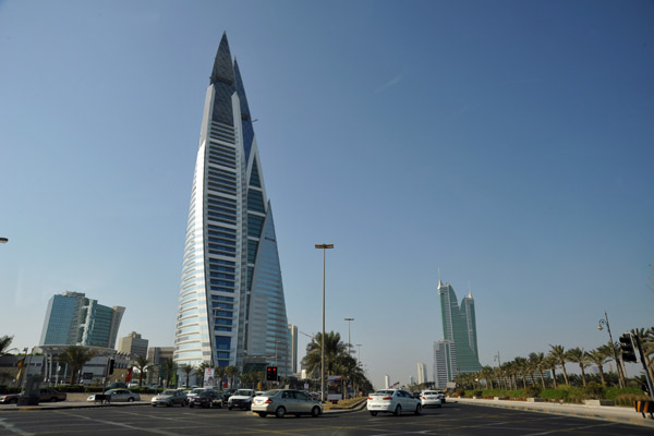 Bahrain World Trade Centre from the King Faisal Highway