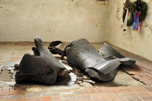 The old Marienkirche bells which fell from the tower during the fire of March 1942