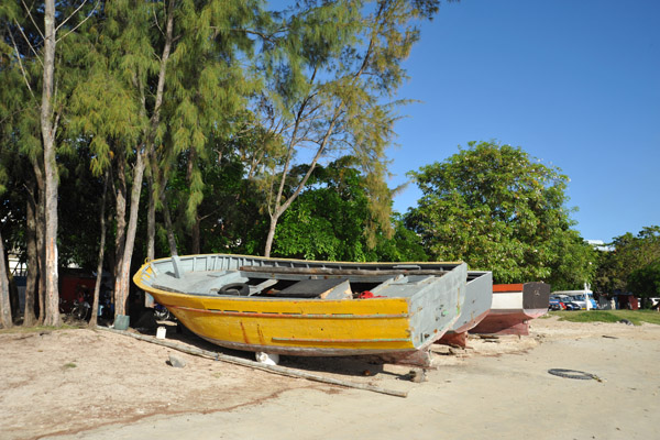 Boats pulled out of the water at Grand Baie