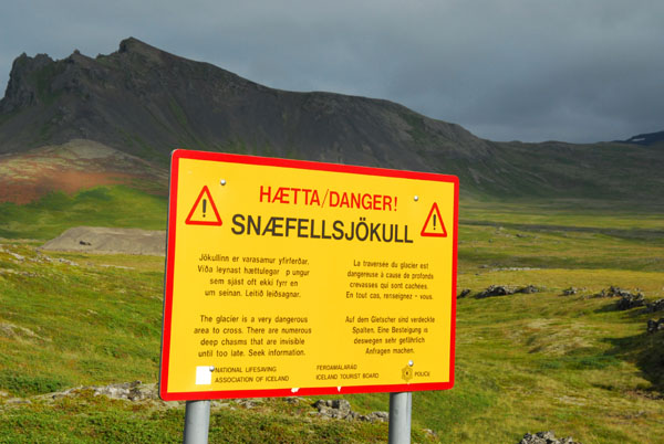 Snæfellsjökull glacier warning sign on the north side of the peninsula
