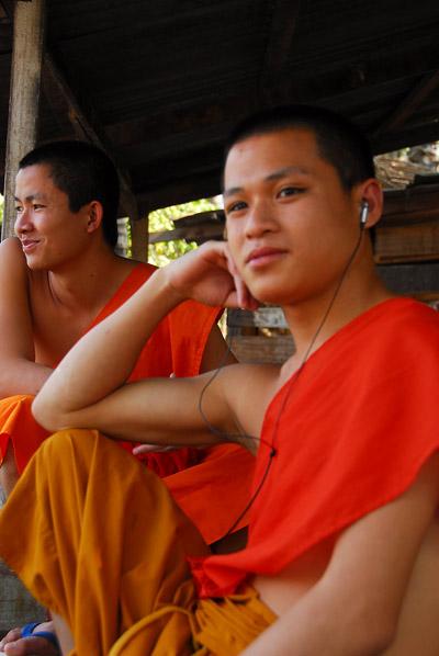 Monk with earphones