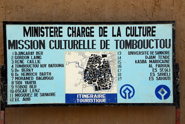 Ministry of Culture map of tourist sites in Timbuktu