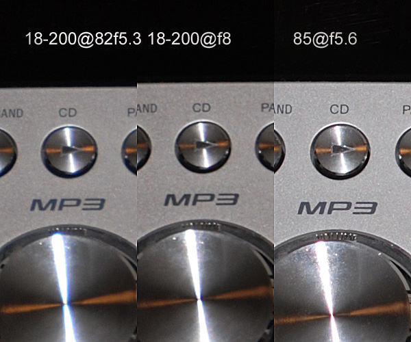 Edge Sharpness Compared to 85mm f1.8 AF-D