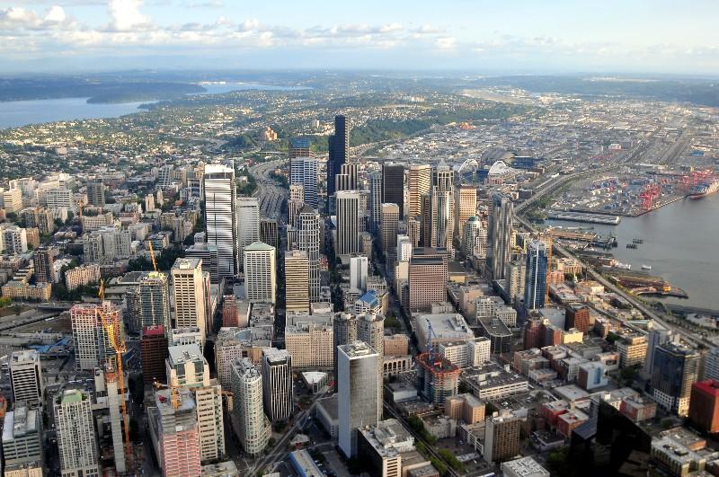 birds-eye  view of Seattle