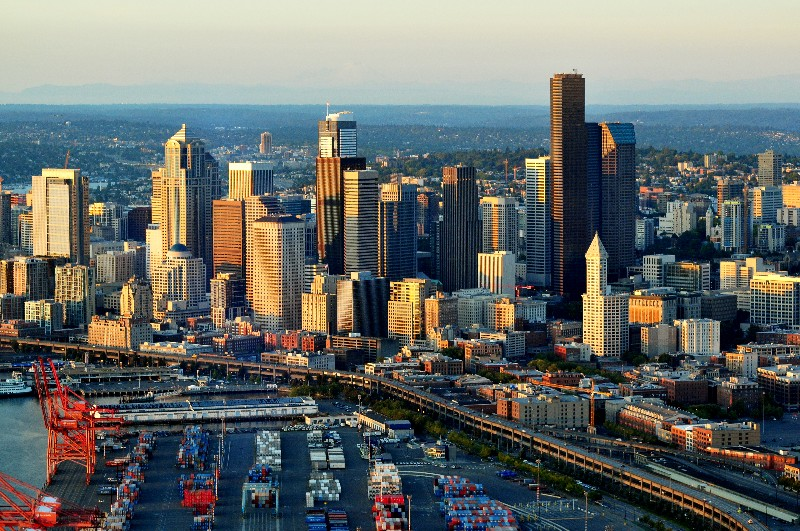 Fall evening over Seattle