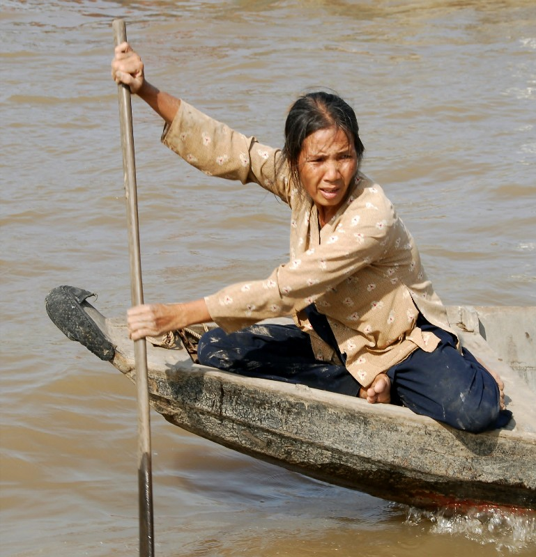 paddling in floating market, Can Tho, Vietnam