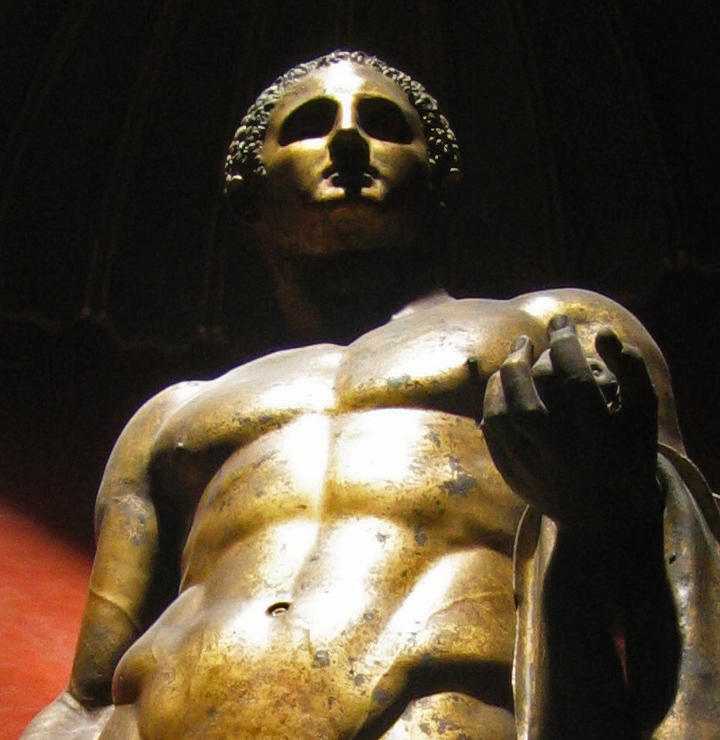 In a Vatican room of sculptures, Hercules (Heracles) of the Theater of Pompey<br>Hercules Righetti