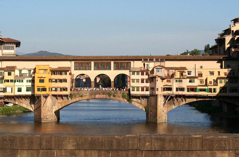 Uffizi Museum (big windows) seen at left top behind Ponte Vecchio
