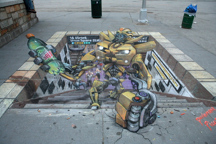 Artist Julian Beevers Sidewalk Art - Union Square
