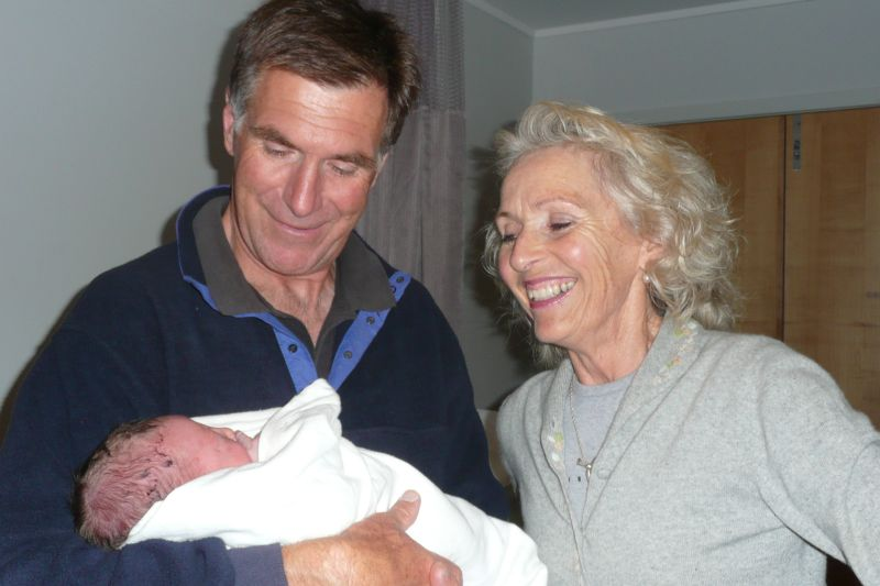 Gramps, Grammy and Toby  - 3 hours old