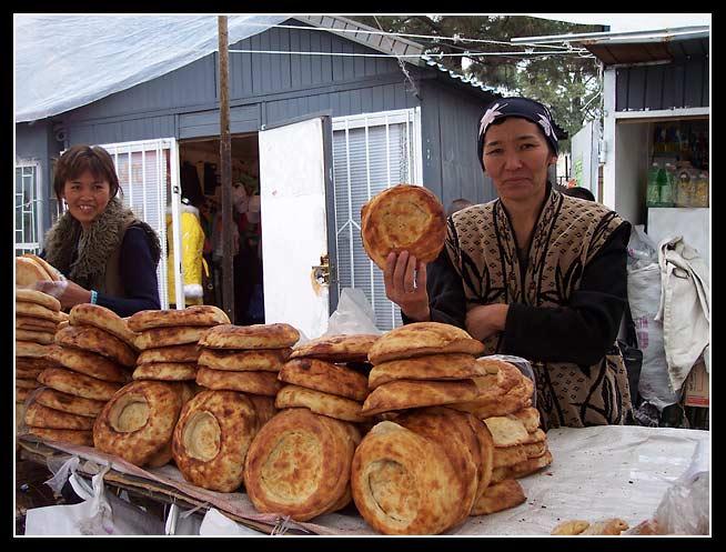 Delicious bread in Osh Bazaar