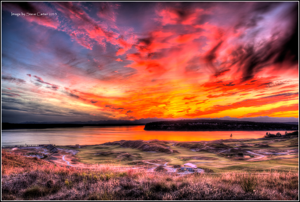 Sunset over Fox Island