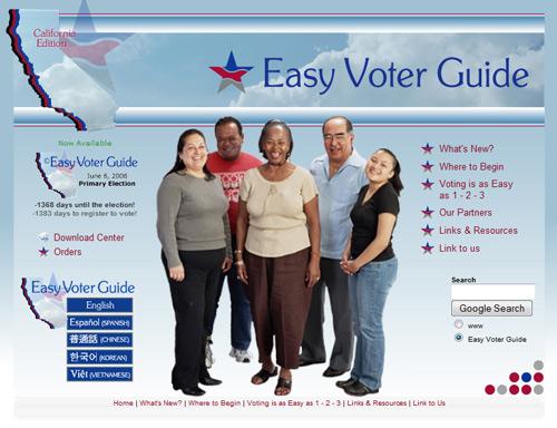 Easy Voter Guide  prototype (2009)