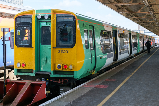 313201 stands at Portsmouth Harbour station having arrived with the 10.03 Southern departure from Brighton, 21/5/15
