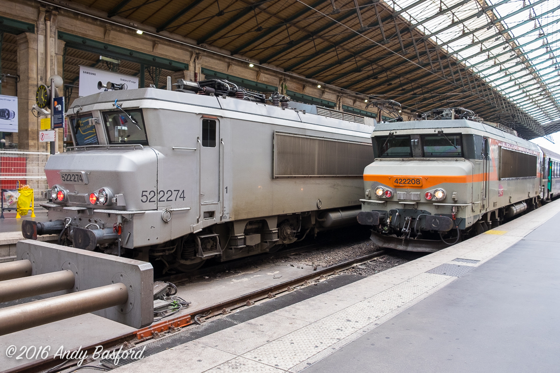 SNCF Class BB 22200 522274 & 422208 at Gare du Nord, Paris, 2/8/16