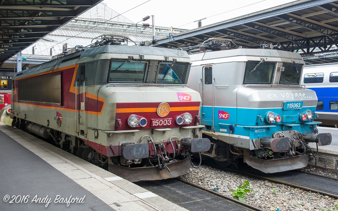 SNCF Class BB 150000 115003 & 115063 at Gare de l'Est, Paris, 18/9/16