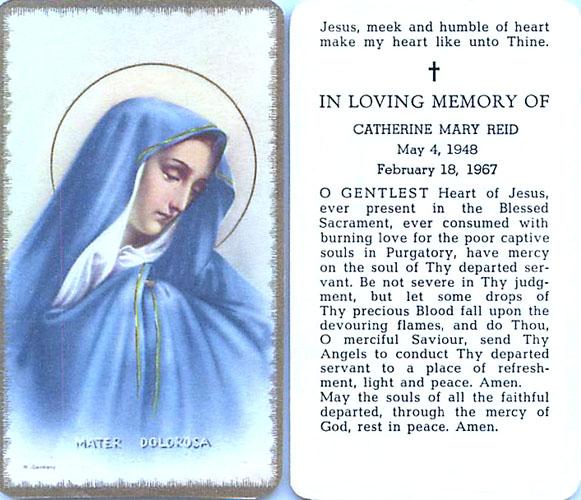 Prayer card for Cathie Mary Reid, 5/4/48 ~ 2/18/67