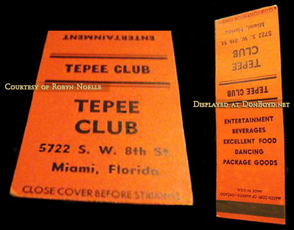1950s and 60s - matchbook cover for the Tepee Club on Tamiami Trail in Miami