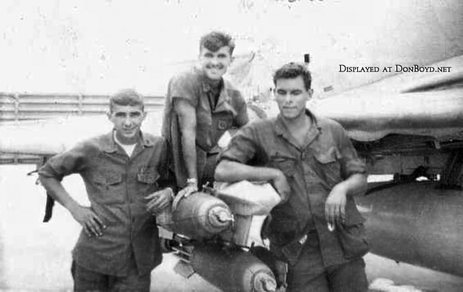Late 1960s - (L-R) Jim Galchick, Albert ChipAlbertelly and George Phander with A-4 Skyhawk of VMA-311 in Vietnam