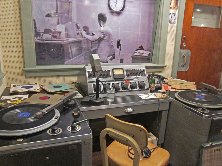 Equipment used by a radio disc jockey in the 1950's - at Sun Studio