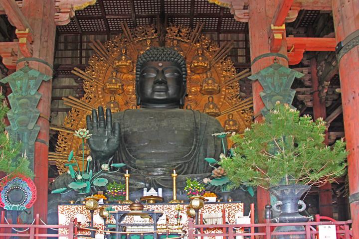 The 50 foot tall Daibutsu (Great Buddha) in Todai-ji Temples Main Hall in Nara Park in Nara