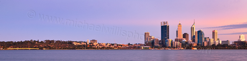 Perth and the Swan River at Sunrise, 7th April 2012