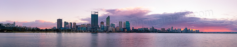 Perth and the Swan River at Sunrise, 2nd August 2012