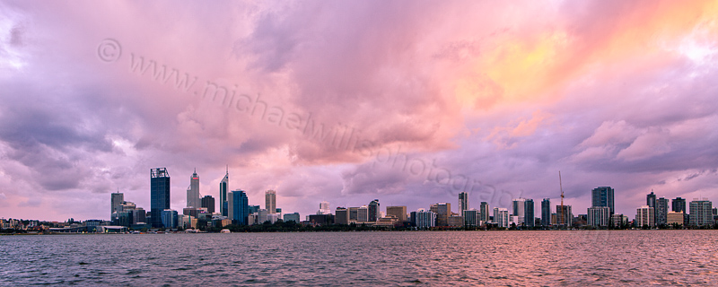 Perth and the Swan River at Sunrise, 7th August 2012