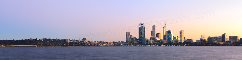 Perth and the Swan River at Sunrise, 21st June 2013