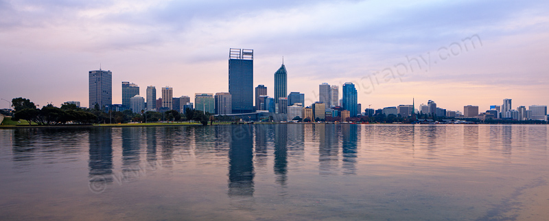 Perth and the Swan River at Sunrise, 3rd July 2013