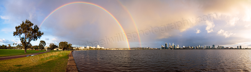 Sunrise Rainbow over Perth and the Swan River, 4th September 2013