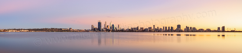 Perth and the Swan River at Sunrise, 21st April 2014