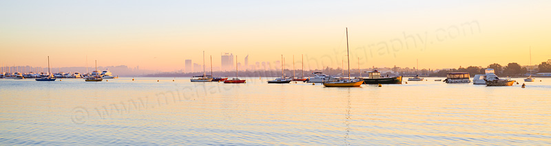 Perth and the Swan River at Sunrise from Applecross, 9th May 2015