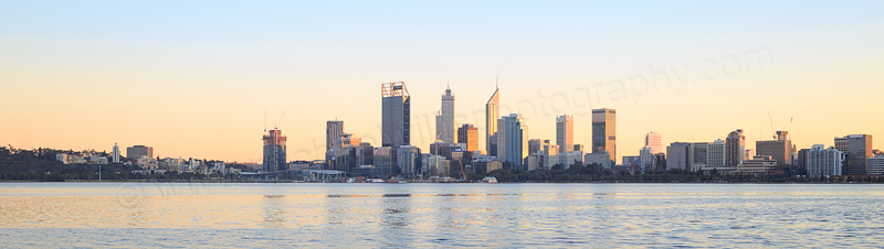 Perth and the Swan River at Sunrise, 2nd August 2016