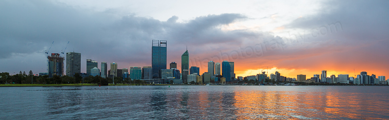 Perth and the Swan River at Sunrise, 7th August 2016