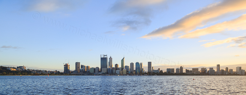 Perth and the Swan River at Sunrise, 10th August 2016