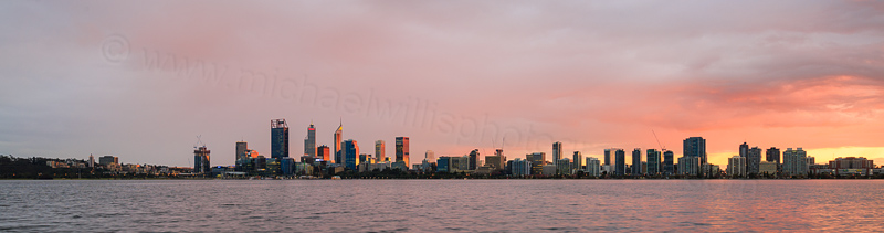 Perth and the Swan River at Sunrise, 11th August 2016