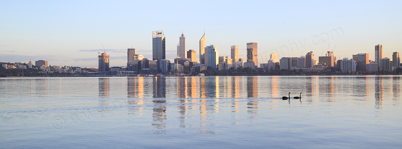 Perth and the Swan River at Sunrise, 12th August 2016