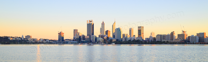 Perth and the Swan River at Sunrise, 14th August 2016