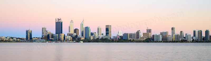 Perth and the Swan River at Sunrise, 15th December 2016