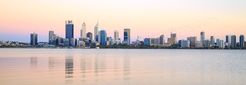 Perth and the Swan River at Sunrise, 24th December 2016
