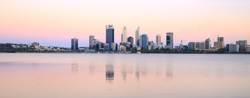 Perth and the Swan River at Sunrise, 25th December 2016