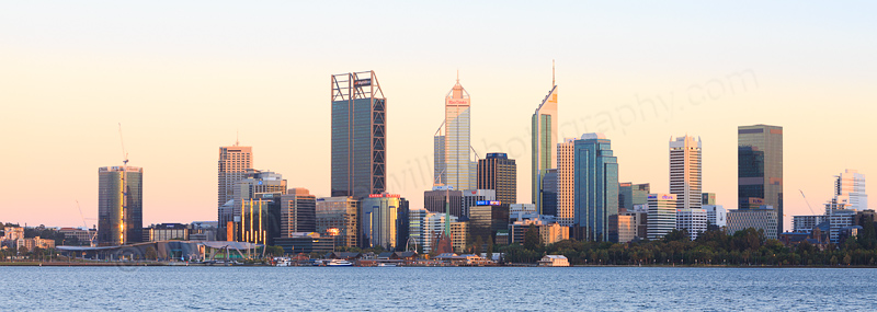 Perth and the Swan River at Sunrise, 26th December 2016