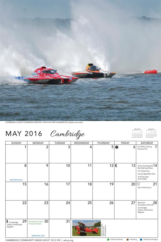 WHCP Calendar - May, 2016
